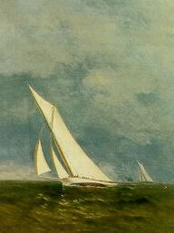 FREDERICK DE BOURG RICHARDS (AMERICAN 1822-1903). AMERICA'S CUP YACHT RACE, 1887, VOLUNTEER AND THISTLE.