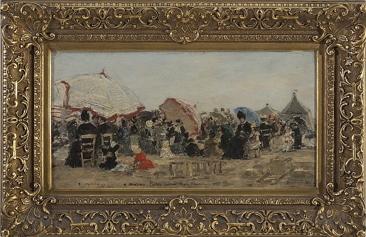 EUGENE BOUDIN (FRENCH 1824-1898). THE BEACH AT TROUVILLE.