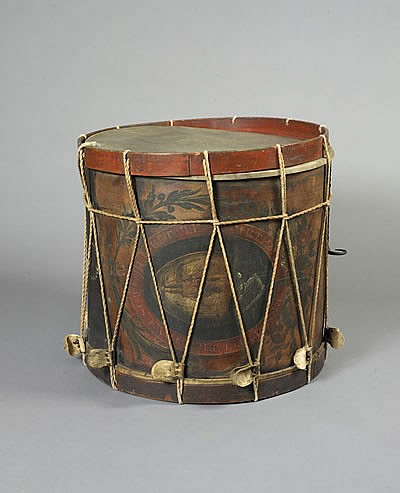 PAINTED MILITIA BASS DRUM, FREDERICK LANE, BOSTON, MASSACHUSETTS, CIRCA 1813-19.