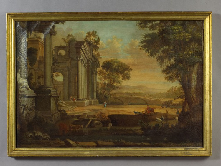 Arthur Armstrong (American 1798-1851). Classical landscape with figures and  ruins. 7e1f1ac293232