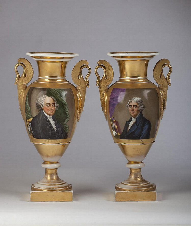 PAIR OF AMERICAN PRESIDENTIAL PARIS PORCELAIN PORTRAIT VASES COMMEMORATING JOHN ADAMS AND THOMAS JEFFERSON, 1826-30.