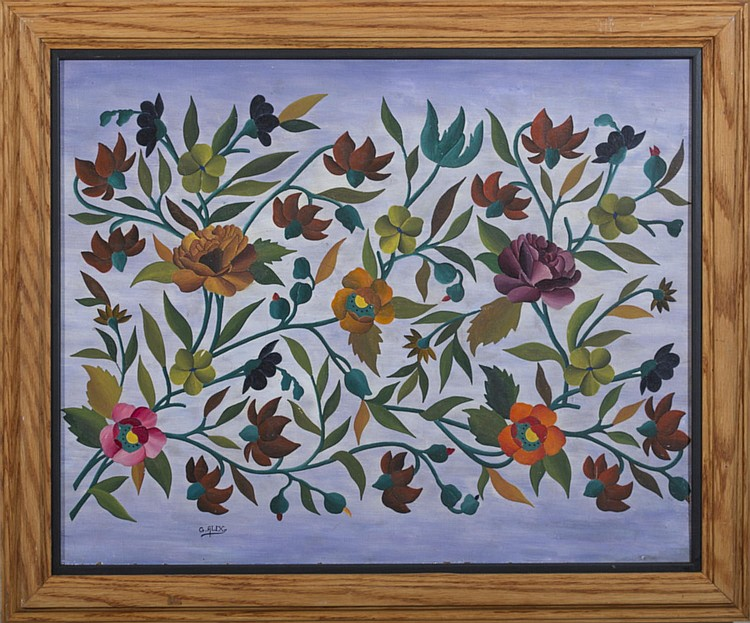 GABRIEL ALIX (HAITIAN 1930-1998). FLOWERS ON A PURPLE BACKGROUND.