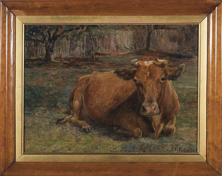 CHARLES FRANKLIN PIERCE (AMERICAN 1844-1920) TWO PAINTINGS OF COWS RESTING.