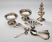 SEVEN GEORGE III SILVER SALT SPOONS, HESTER BATEMAN, 1782-86; A SILVER CASTER, PETER & ANN BATEMAN, 1801-02; AND A PAIR OF GEORGE IV SILVER SALTS, REBECCA EMES & EDWARD BARNARD I, 1822-23, ALL LONDON.