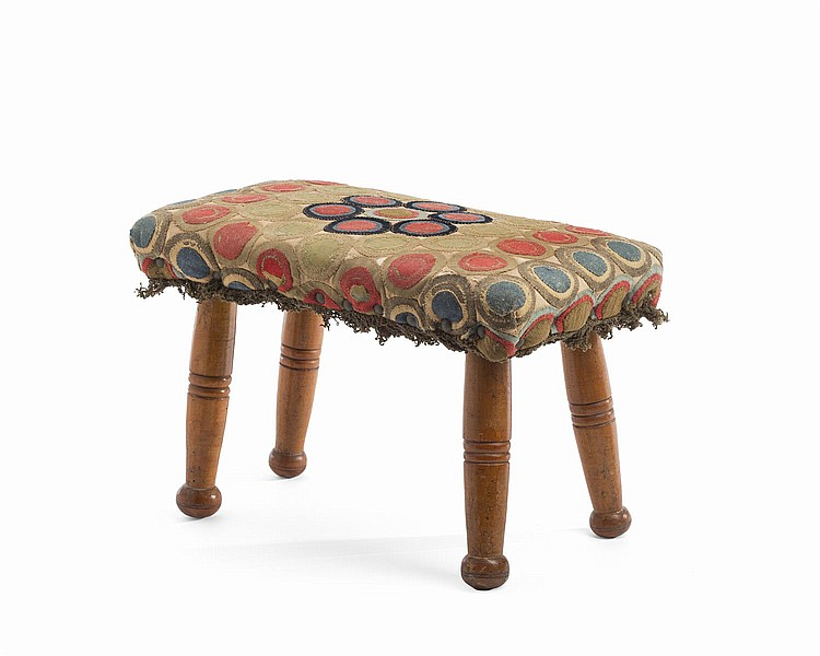 COUNTRY FEDERAL TURNED MAPLE FOOTSTOOL WITH PENNY RUG COVERING.