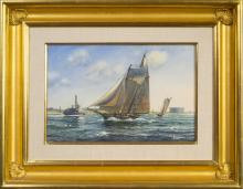 ROY CROSS, R.S.M.A. (BRITISH B. 1924). SLOOP-RIGGED YACHTS RACING ON THE HUDSON RIVER.
