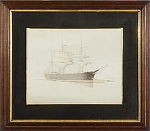 JOHN GUNSON ATKINSON (BRITISH, ACT. 1849-1885). FOGBOUND SHIP AT ANCHOR.