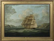 JAMES E. BUTTERSWORTH (AMERICAN 1817-1894). FRENCH FRIGATE FLYING THE COMMODORE'S FLAG, ENTERING BREST.