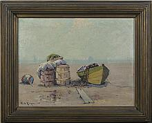 EDWARD A. PAGE (AMERICAN 1850-1928). DORIES AT SWAMPSCOTT.