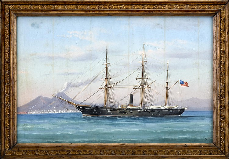 ANTONIO DESIMONE (ITALIAN 1851-1907). THE U.S.S.