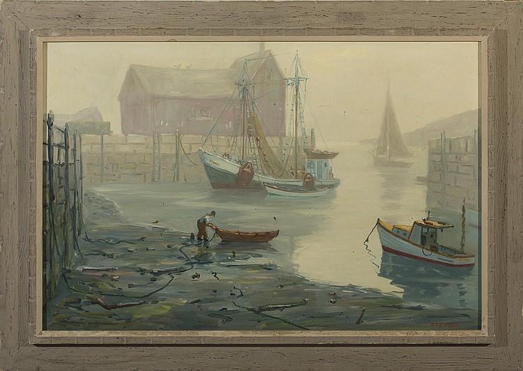 CHARLES STEPULE (AMERICAN 1911-2006). FISHING BOATS, ROCKPORT HARBOR.