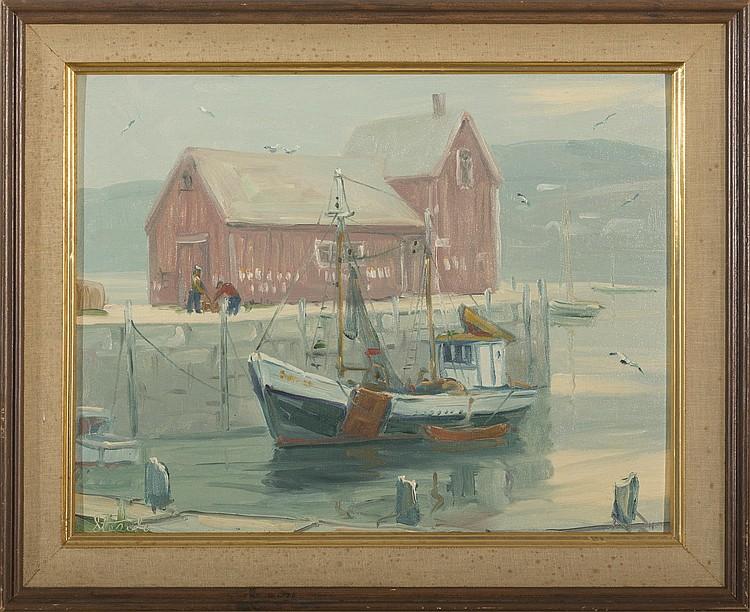 CHARLES STEPULE (AMERICAN 1911-2006). MOTIF NO. 1, ROCKPORT HARBOR.