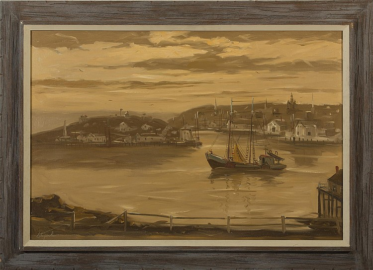 CHARLES STEPULE (AMERICAN 1911-2006). PAIR OF VIEWS OF FISHING BOATS, GLOUCESTER HARBOR AT EVENING.