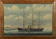 SALVATORE COLACICCO (BRITISH/ ITALIAN, B. 1935). PORTRAIT OF AN AMERICAN STEAM CLIPPER SHIP.