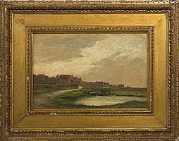 PERCY LESLIE LARA (BRITISH 1870-1950). SALTHOUSE VILLAGE, NORFOLK, ENGLAND.