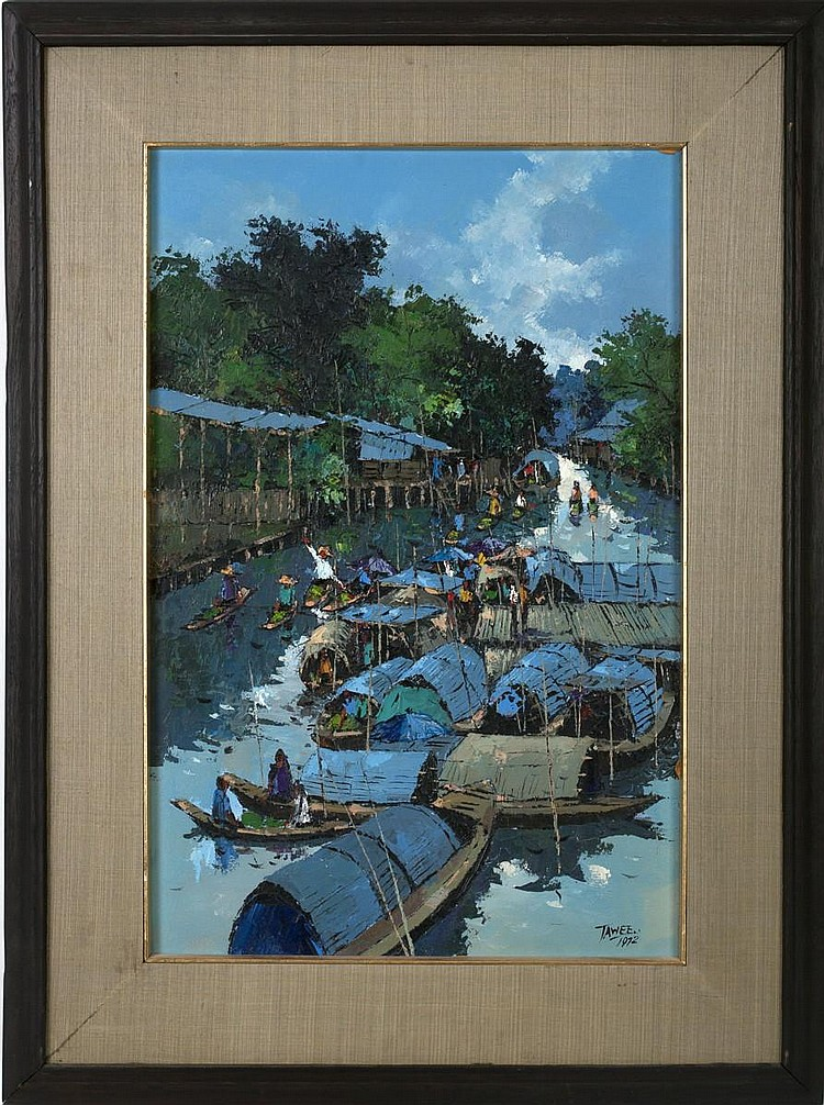 TAWEE NANDAKWANG (THAI 1925-1991). SAMPANS ON A RIVER.