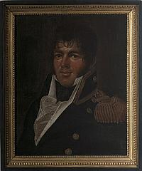 """CHARLES DELIN (DUTCH 1756-1818). PORTRAIT OF LIEUTENANT JOHN J. YARNALL, FLAG LIEUTENANT TO COMMODORE OLIVER HAZARD PERRY ON THE """"LAWRENCE"""" AT THE BATTLE OF LAKE ERIE, SEPTEMBER 13, 1813."""