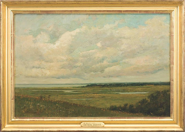 ARTHUR HOEBER (AMERICAN 1854-1915). THE MARSHES AT