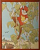 ARTS & CRAFTS LITHOGRAPH OF JACK AND THE BEANSTALK BY ELIZABETH TYLER WOLCOTT (AMERICAN, B. 1892)., Elizabeth Tyler Wolcott, Click for value