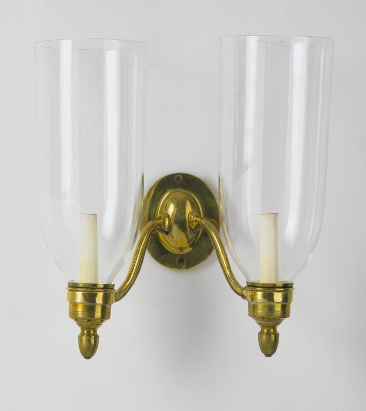 Tall Glass Wall Sconces : PAIR OF BRASS WALL SCONCES, EACH WITH TALL BLOWN GLASS HURRI