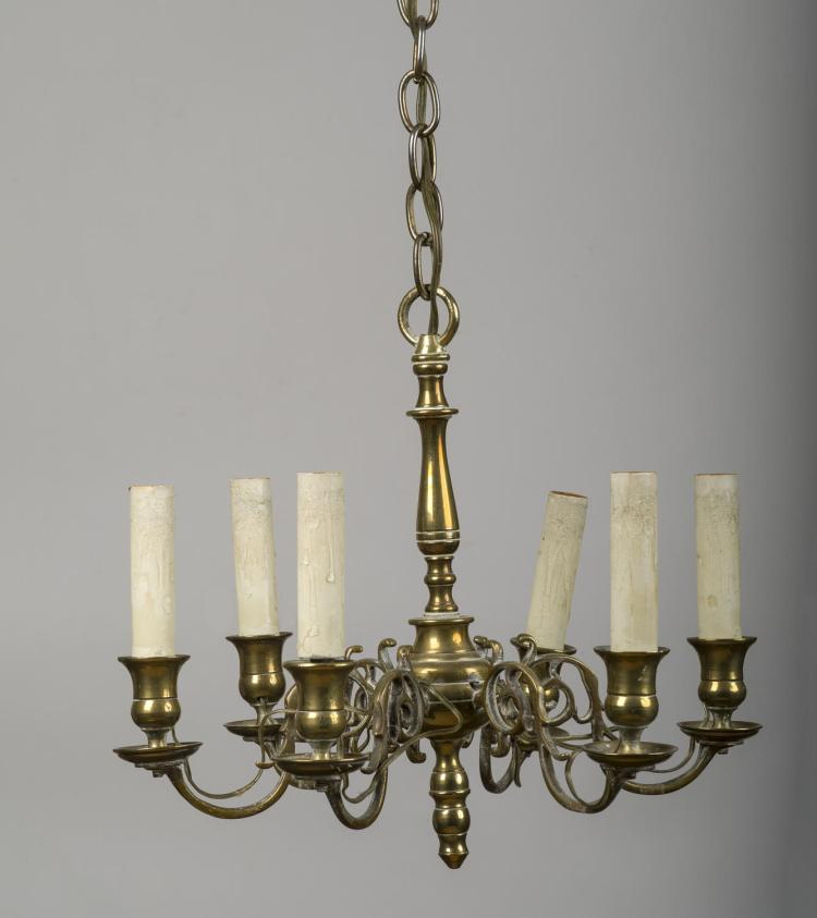 Continental Brass Six Light Chandelier With Baluster Turned