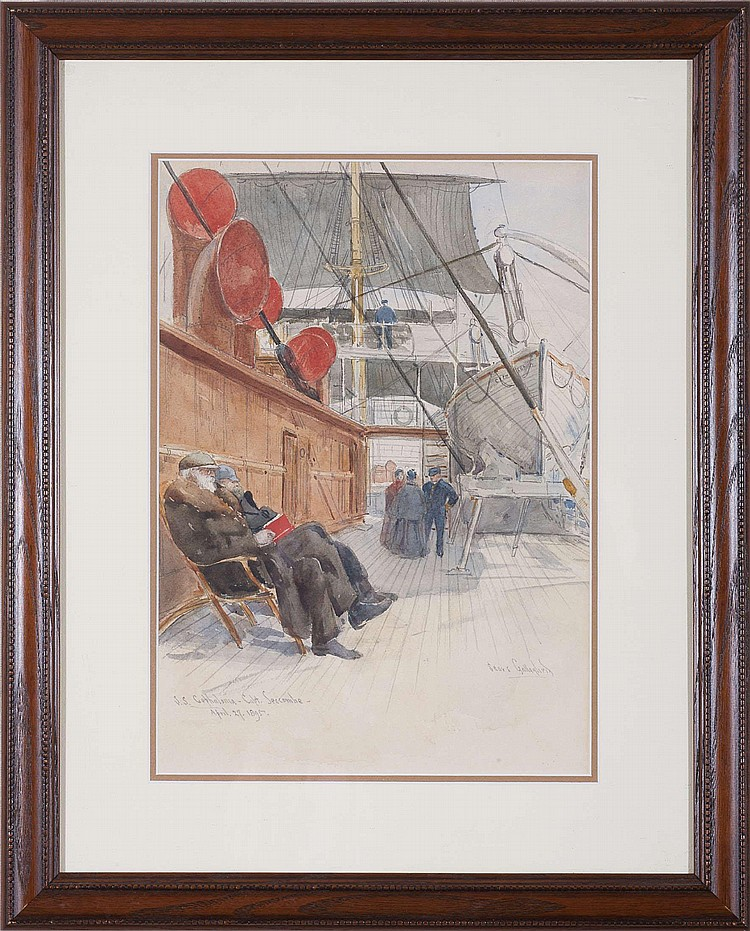 SEARS GALLAGHER (AMERICAN 1869-1955). ON DECK, S.S. CEPHALONIA, 1895.