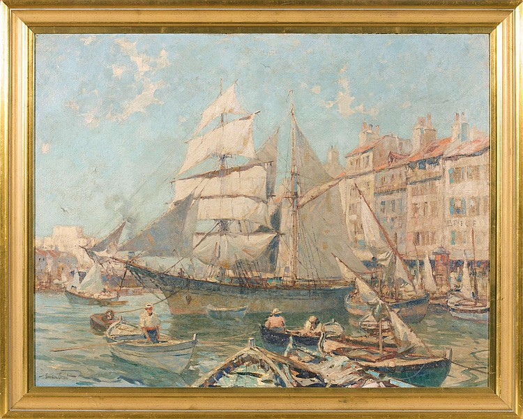 GORDON GRANT (AMERICAN 1875-1962). THE OLD PORT OF MARSEILLES.