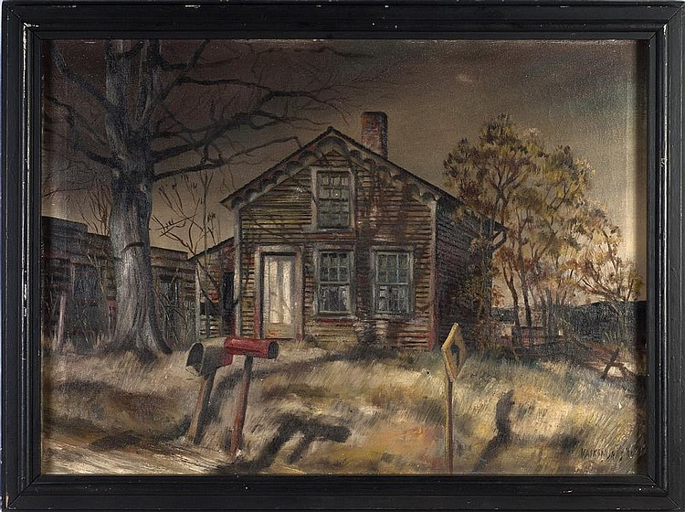 ANTHONY J. VAIKSNORAS JR. (AMERICAN 1918-1973). HOUSE BY THE ROADSIDE.