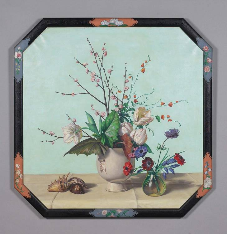 ALLYN COX  (AMERICAN 1896-1982). PAIR OF OCTAGONAL STILL-LIFES OF FLORAL ARRANGEMENTS AND SEASHELLS.