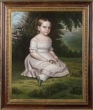 HANNAH FAIRFIELD (AMERICAN 1808-1894). YOUNG GIRL IN A WHITE DRESS AND PANTALOONS HOLDING A HANDFUL OF POSIES AND SEATED IN A LANDSCAPE, CIRCA 1840.
