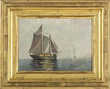 EDWARD A. PAGE (AMERICAN 1850-1928). LUMBER SCHOONER, LYNN HARBOR.