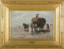 EDWARD A. PAGE (AMERICAN 1850-1928). HARVESTING THE SEAWEED, LYNN BEACH.