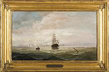 JOHN W. STANCLIFF (AMERICAN 1814-1879). SHIP HEADING INTO A HARBOR.