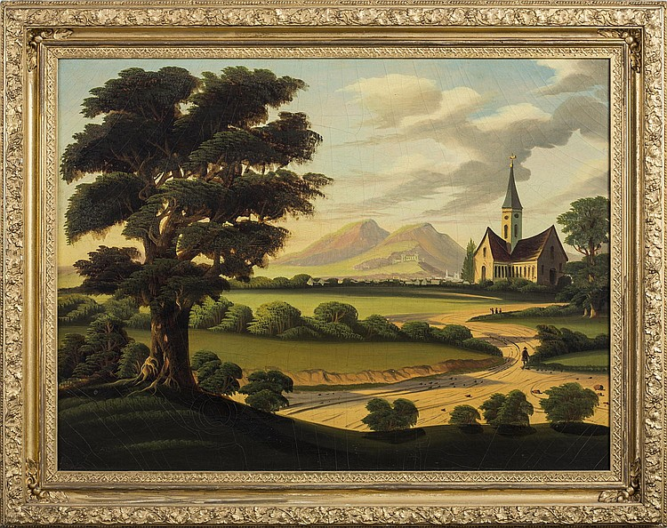 THOMAS CHAMBERS (AMERICAN 1808-1869). COUNTRY LANDSCAPE WITH VILLAGE AND CHAPEL.