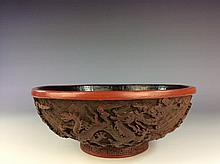 Fine Chinese  Carved Lacquer Cinnabar bowl, decorated with dragon designed. Marked