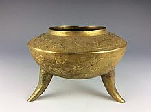 Masterpiece,  Qing period, Chinese gilt metalwork, decorated with dragon, clouds, flowers and Chinese character, meaning