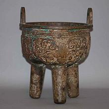 Important Chinese bronze ding with ears