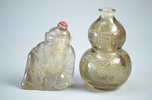 Two Fine  vintage crystal Snuff bottle