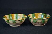 Pair of Chinese sancai porcelain bowls,