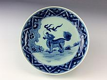 Chinese Wanli-style Blue& white glazed Porcelain plate