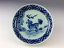 Chinese Wanli-style Blue& white glazed Porcelain plate