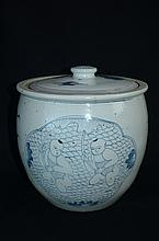 19th C Large Vintage Qing style Chinese blue and white porcelain jar with cover