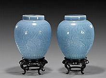Pair of Chinese Sky-Blue Glazed Lidded Jar