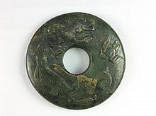 Fine archaic chinese jade, Bi style, carved phoenix