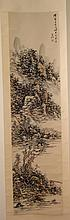 Chinese Painting Hanging Scroll, with Mountainous Landscape