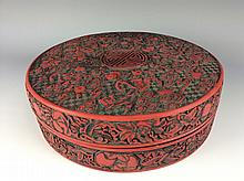 Chienese cinnabar lacquer-style box, marked
