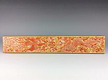 Unique Chinese porcelain paper weight, yellow ground with red glaze e phoenix decorated, marked