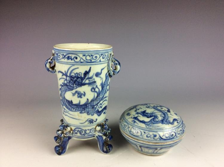 A set of two vintage Chinese porcelain cup & box, blue & white glazed, decorated with marked