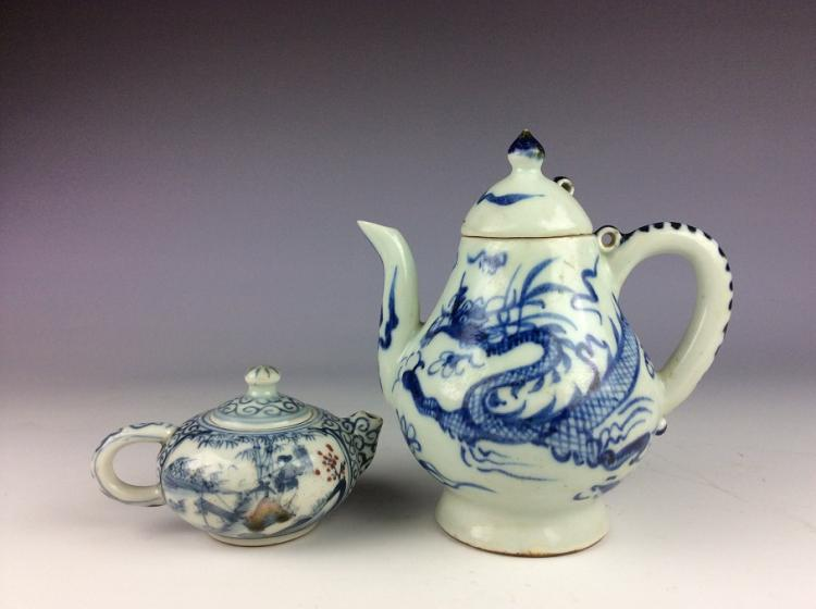 A set of two Chinese porcelain wine pot, blue & white and underglazed red glazed, decorated, marked