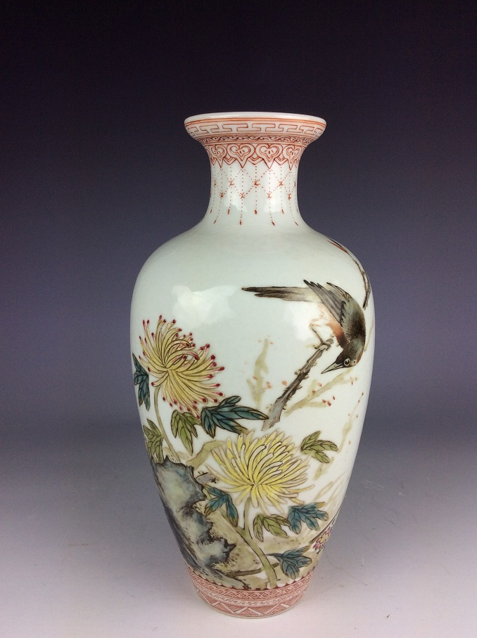 Republic Chinese porcelain vase,  famille rose glaed, decorated with flower / bird, marked